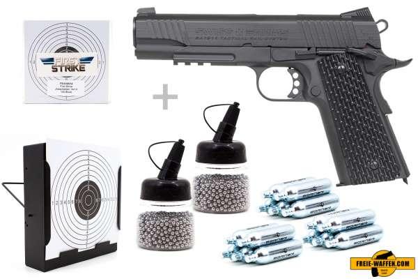 Co² Pistole Komplettset: Swiss Arms 1911 BB TRS Vollmetall KWC, Kugelfangkasten & Zubehör