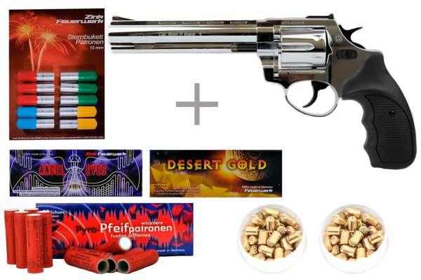 "Schreckschuss Silvester Set Starter Zoraki R1 6"" Revolver Chrom + 200 Teile"