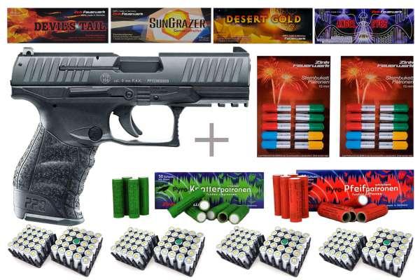 Schreckschuss Silvester Set Professional Walther PPQ M2 Schwarz brüniert + 400 Teile