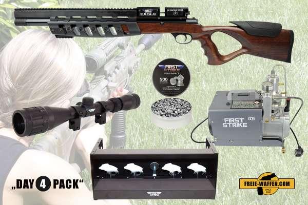 Komplettset: First Strike Pressluftgewehr Eagle + Kompressor + Munition + Ziele + Zubehör