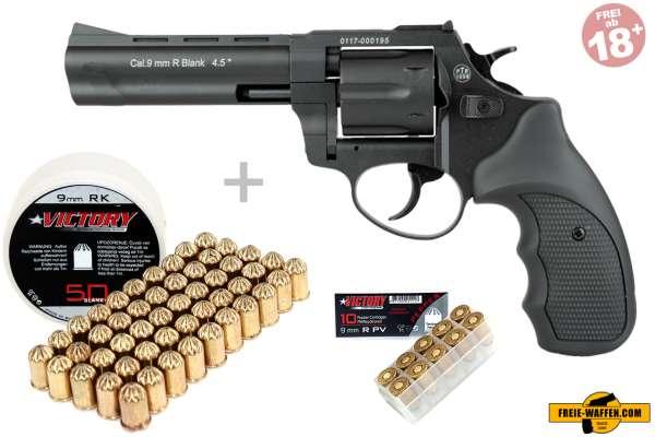 Schreckschuss Set: Zoraki Revolver R1 4,5 Zoll Schwarz/ brüniert  + 50 Platz- / + 10 Pfefferpatronen 9mm R.K.
