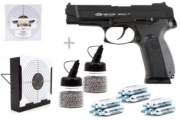 Co² Pistole Komplettset: Gletcher Grach Vollmetall, Kugelfangkasten & Zubehör-Copy