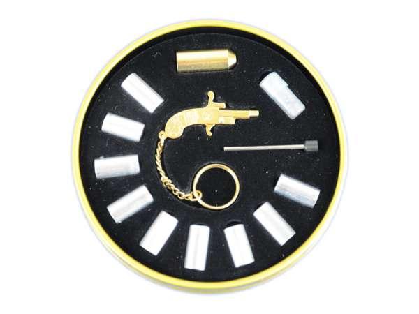 Original Berloque Mini Schreckschuss Pistole Pistölchen Signalpistole 2 mm Gold Dose