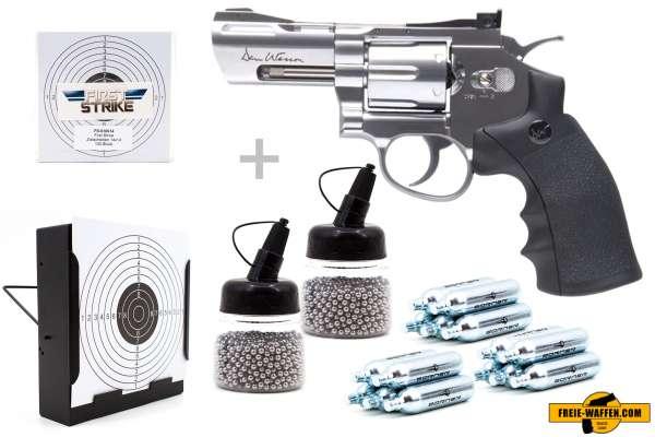 """Co² Pistole Komplettset: Dan Wesson 2,5"""" NBB Silber, Kugelfangkasten & Zubehör"""