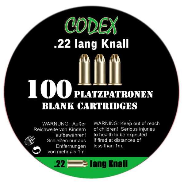 Platzpatronen Codex Kaliber .22 lang Knall, 100 Stk.