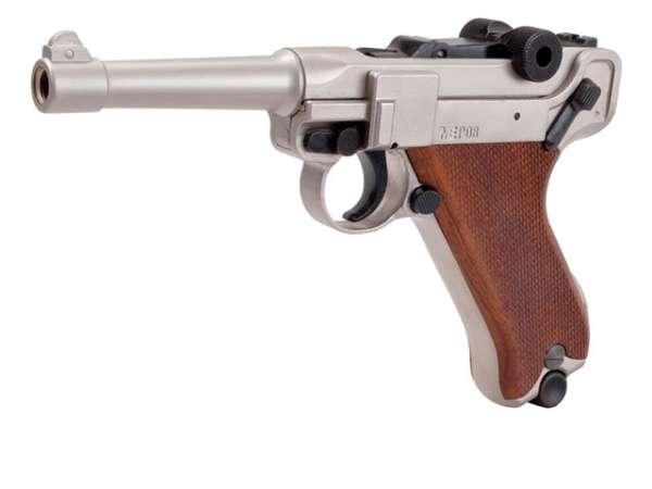 Schreckschusspistole ME Mod. P08 9mm P.A.K. matt vernickelt