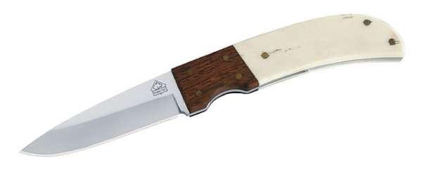 Puma TEC Gürtelmesser, AISI 420, Hornschalen, Holz, Lederscheide