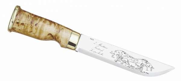 Marttiini Lappland-Messer, Birkenholz, Klinge 15 cm, (Leder)