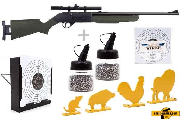 Luftgewehr Komplett Set: Crosman Pump-Luftgewehr Torrent SX Oliv, Kugelfangkasten + 100 Zielsche