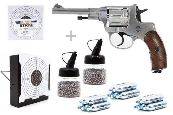 Co² Revolver Komplettset:Gletcher NGT Silver 4,5mm BB, Kugelfangkasten & Zubehör