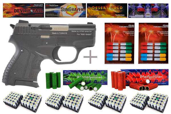 Schreckschuss Silvester Set Professional Zoraki 906 Schwarz/ Chrom + 400 Teile