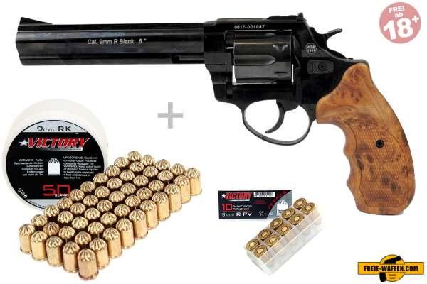 Schreckschuss Set: Zoraki Revolver R1 6 Zoll Schwarz glänzend/ HG + 50 Platz- / + 10 Pfefferpatronen