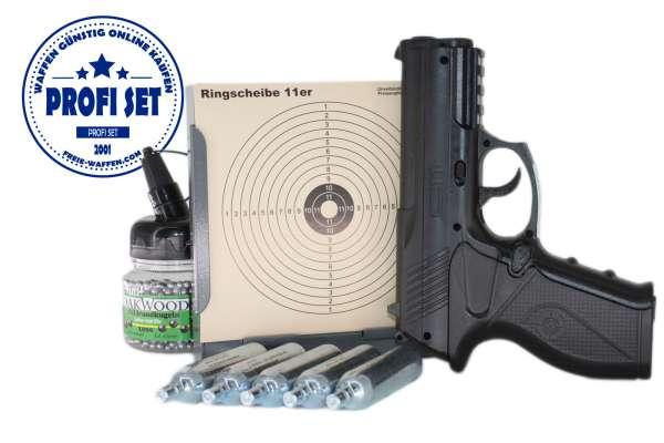 Crosman C11, Co2 Pistole, Kaliber 4.5 mm Stahlrundkugeln, Profi Set, 1000 BBs, 5 Co2 Kapseln, Scheibenkasten und 50 Schießscheiben.