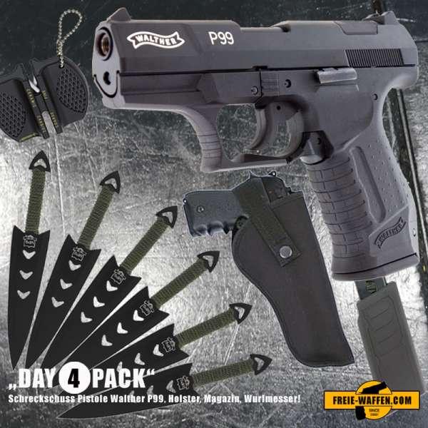 Everydaycarry: Walther P99 Schreckschuss Pistole 9 mm P.A.K. + Holster + Magazin + Wurfmesser Set