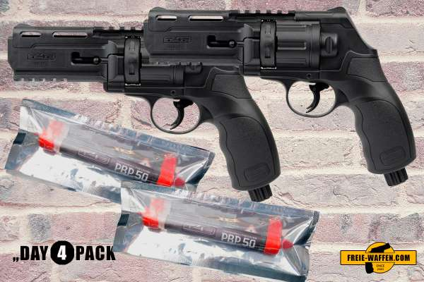 Profi Defense Kit: 2x Umarex RAM T4E HDR 50 Revolver Schwarz + 2x Pfeffermunition
