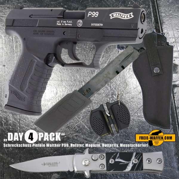 Everydaycarry: Walther P99 Schreckschuss Pistole 9 mm P.A.K. + Holster + Magazin + Mini Springmesser