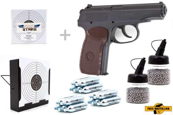 Co² Pistole Set: Borner PM49, Kugelfangkasten + 100 Zielscheiben + 15 Co² Kap