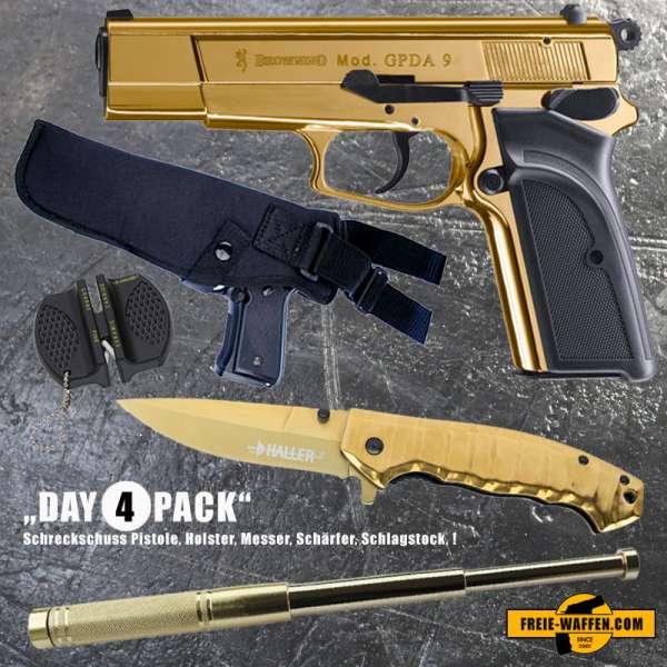 Everydaycarry: BROWNING GPDA 9 Schreckschuss Pistole 9mm P.A.K. + Holster + Messer + Schlagstock