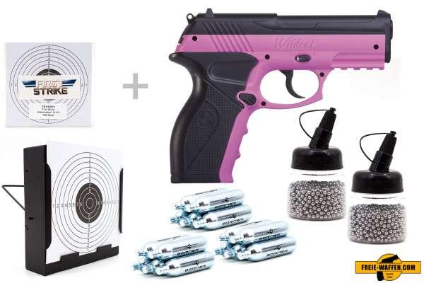 Co² Pistole Komplettset: Crosman Modell C11 Pink Wildcat, Kugelfangkasten & Zubehör