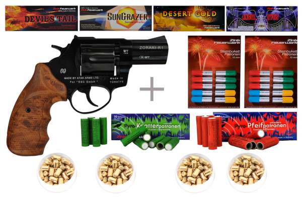 "Schreckschuss Silvester Set Starter Zoraki R1 2,5"" Revolver Schwarz inkl. 100 Stk. Effekt + 100 Stk."
