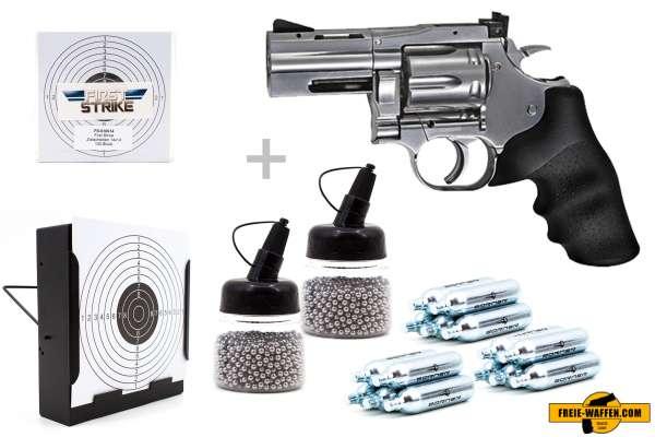 "Co² Pistole Komplettset: Dan Wesson 715 2.5"" ASG, Kugelfangkasten & Zubehör"