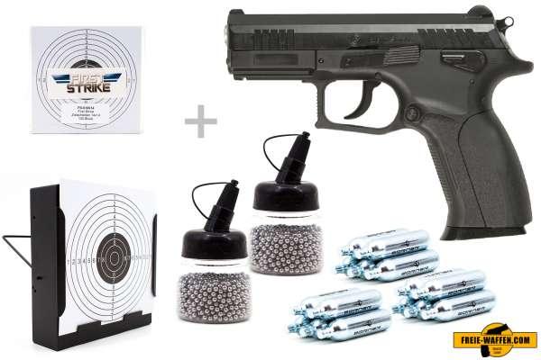 Co² Pistole Set: Grand Power Modell P1MK7 BLOW BACK, Kugelfangkasten + 100 Zielscheiben + 15 Co² Kap