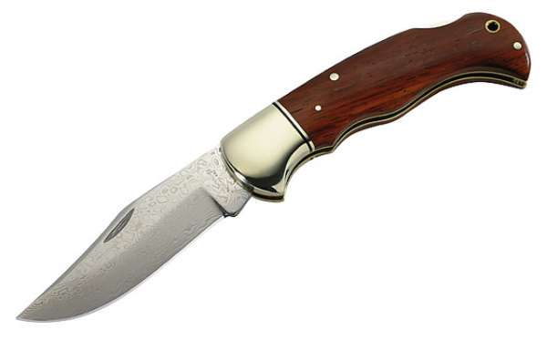 Herbertz Damast-Taschenmesser, 49 Lagen, Stahl 440, Cocobolo-Hol