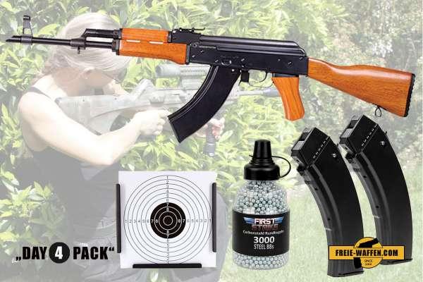 Komplettset: Kalashnikov AK-47 Co² Gewehr + Stahlrundkugeln + 2 Magazine + Zielkasten Trichter