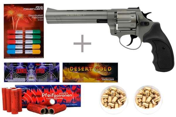 "Schreckschuss Silvester Set Starter Zoraki R1 6"" Revolver Titan + 200 Teile"