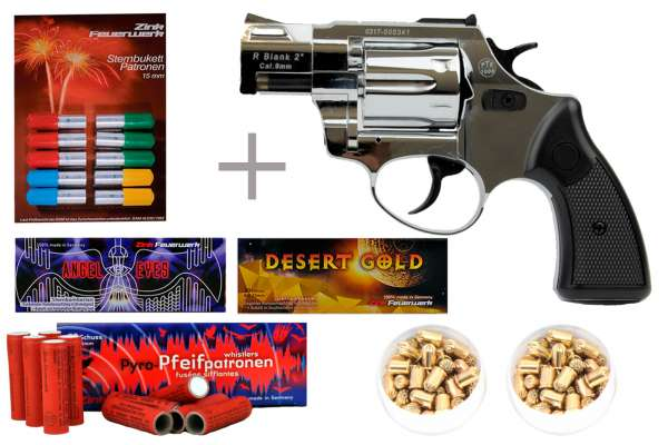 "Schreckschuss Silvester Set Starter Zoraki R2 2"" Revolver Chrom + 200 Teile"