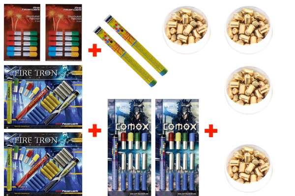 Silvester Schreckschuss Set: 176 Teile Zink Feuerwerk + 200 Stk. 9mm R.K. (Revolver)