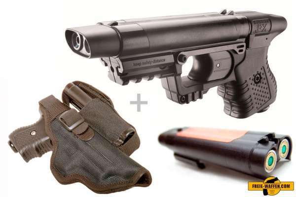 Piexon Pfefferspraypistole Jet Protector JPX + Holster + Zusatzmagazin