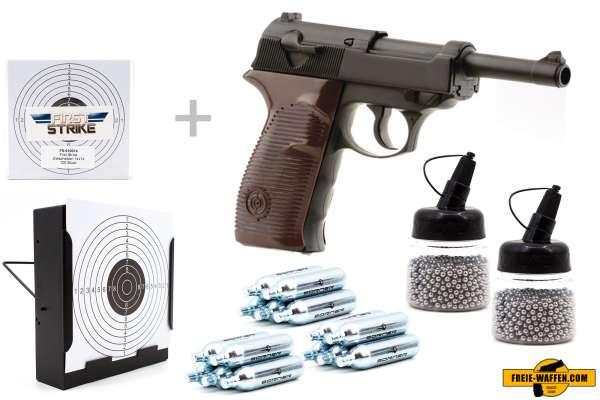 Co² Pistole Komplettset: Crosman Modell C41, Kugelfangkasten & Zubehör