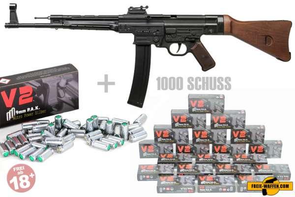 Schreckschuss Set:StG44 Maschinengewehr Brüniert + 1000 Platzpatronen 9mm P.A.K
