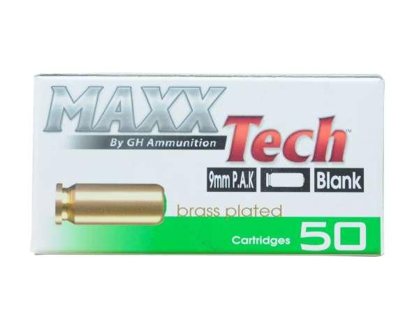 Maxxtech Platzpatronen 9mm PAK vermessingt 50 Stück Blanks