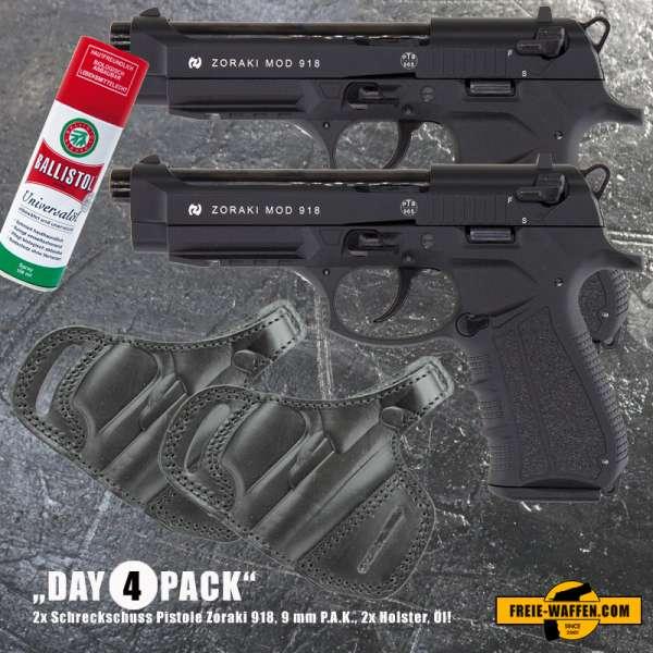 Everydaycarry: 2x Zoraki 918 Schreckschusspistole 9mm P.A.K. Schwarz + 2x Holster + Ballistol