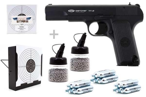 Co² Pistole Komplettset: Gletcher TT-P NBB, Kugelfangkasten & Zubehör