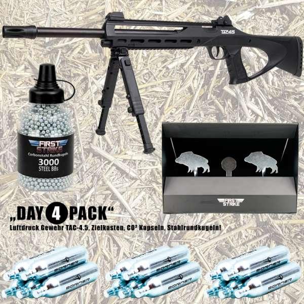 Komplettset: Luftdruck Gewehr TAC-4.5 CO2 4,5mm ASG + Zielkasten + 15er Borner Co² Kapseln 3000 Stah
