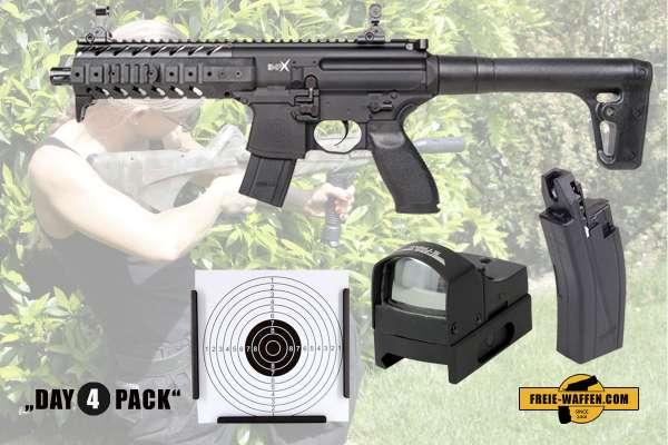 Komplettset: Luftdruckgewehr Sig Sauer MPX 4,5mm + Magazin + Red Dot + Zielkasten Trichter