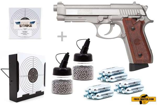Co² Pistole Komplettset: Swiss Arms 92 BB Stainless Vollmetall, Kugelfangkasten & Zubehör