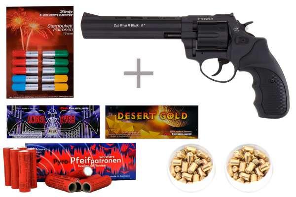 """Schreckschuss Silvester Set Starter Zoraki R1 6"""" Revolver Schwarz + 200 Teile"""