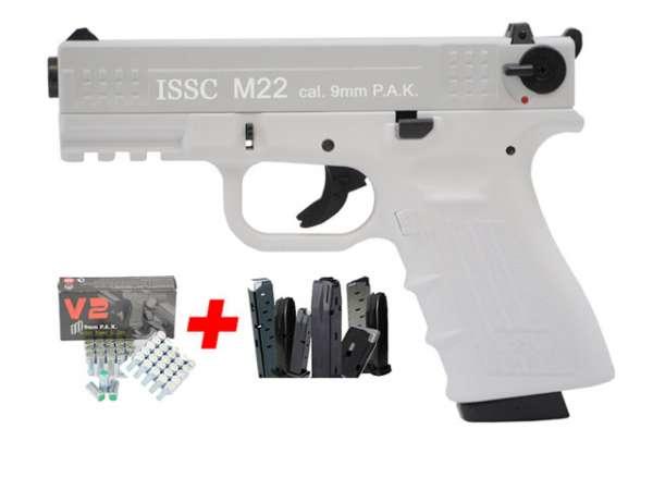 Spar-Set ISSC M22 Gaspistole weiß Blizzard Kal. 9 mm P.A.K.