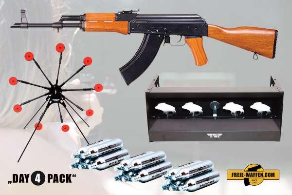 Komplettset: Kalashnikov AK-47 + Borner Co² Kapseln + Rotationsziel + Zielkasten
