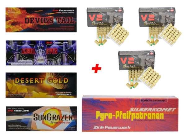 Silvester Pyro Munition - Set: 130 Teile Zink Feuerwerk + 150 Schuss Platzpatronen