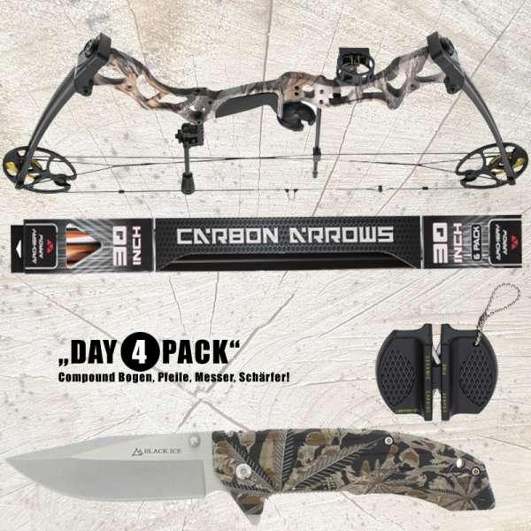 Hunting Gear Deals: Compound Bogen BASILISK camo + Carbon Pfeile 30'' + BLACK ICE Einhandmesser