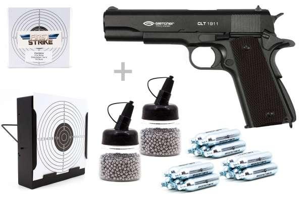 Co² Pistole Komplettset: Gletcher CLT 1911 Schwarz, Kugelfangkasten & Zubehör-Copy