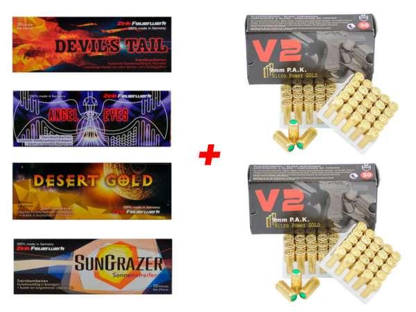 Silvester Pyro Munition - Set: 80 Teile Zink Feuerwerk + 100 Schuss Platzpatronen