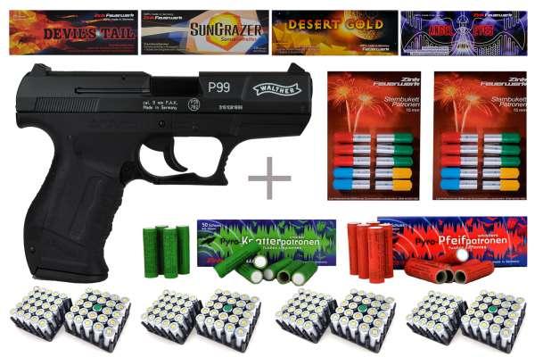 Schreckschuss Silvester Set Professional Walther P99 Schwarz/ brüniert + 400 Teile