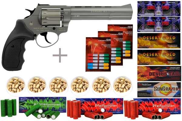 """Schreckschuss Silvester Set XXL Zoraki R1 6"""" Revolver Titan + 600 Teile"""