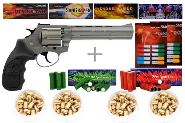 "Schreckschuss Silvester Set Professional Zoraki R1 6"" Revolver Titan + 400 Teile"